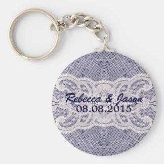 Chaveiro casamento azul da sarja de Nimes do país ocidental
