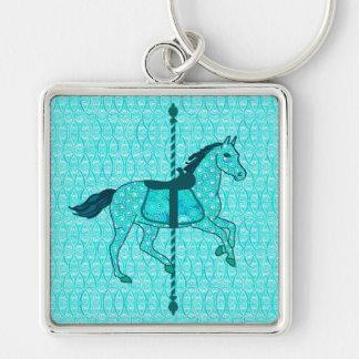Chaveiro Cavalo do carrossel - turquesa e Aqua