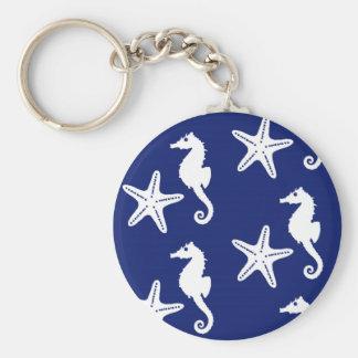 Chaveiro Cavalo marinho & estrela do mar - azuis marinhos e