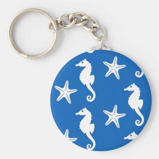 Chaveiro Cavalo marinho & estrela do mar - branco em azuis