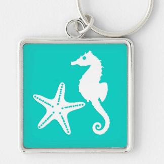 Chaveiro Cavalo marinho & estrela do mar - branco na