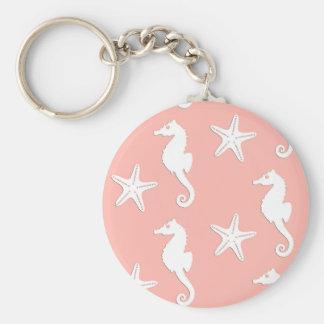 Chaveiro Cavalo marinho & estrela do mar - rosa coral claro