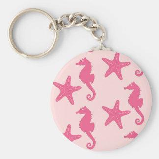 Chaveiro Cavalo marinho & estrela do mar - rosa do coral