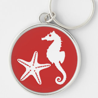 Chaveiro Cavalo marinho & estrela do mar - vermelho coral e