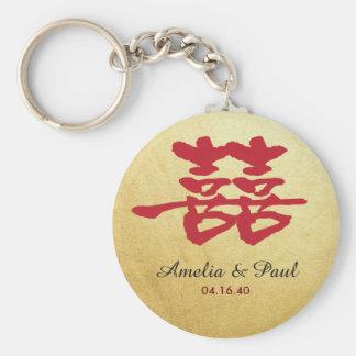 Chaveiro chinês do casamento da felicidade dobro