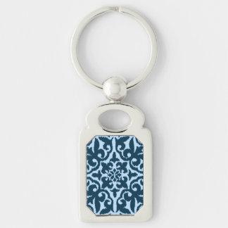 Chaveiro Cor damasco de Ikat - índigo e luz escuros - azul