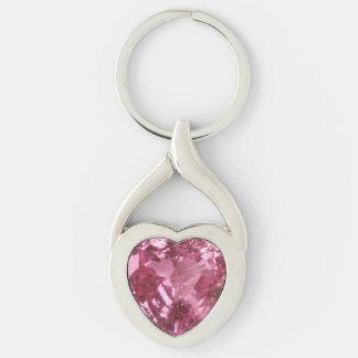 Chaveiro Coração cor-de-rosa do topázio