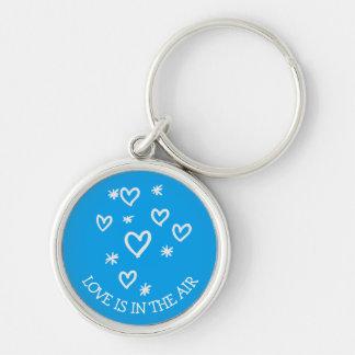 Chaveiro Corações do amor e casamento azul de turquesa das
