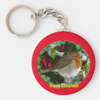 Chaveiro Corrente chave do pisco de peito vermelho do Natal