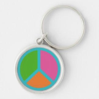 Chaveiro Correntes chaves coloridas de sinal de paz