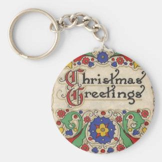 Chaveiro Cumprimentos do natal vintage com beira decorativa