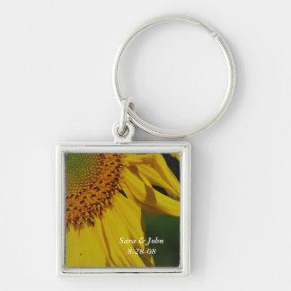 Chaveiro da data do casamento da flor do girassol