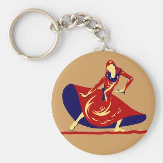 Chaveiro Dançarino da mulher com o presente vermelho longo