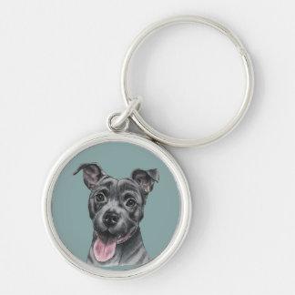 Chaveiro Desenho cinzento feliz do cão do pitbull