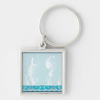Chaveiro Design azul do cavalo marinho e do redemoinho