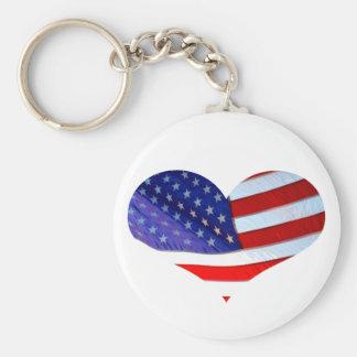 Chaveiro do coração da bandeira americana