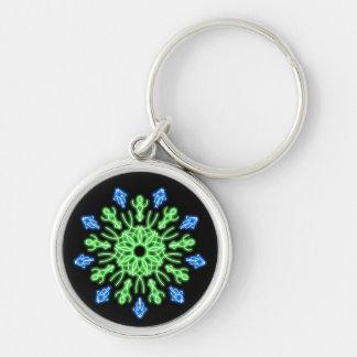 Chaveiro Flor de néon verde e azul