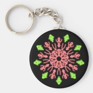 Chaveiro Flor de néon vermelha e verde