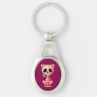 Chaveiro Gato cor-de-rosa do gatinho do açúcar do zombi