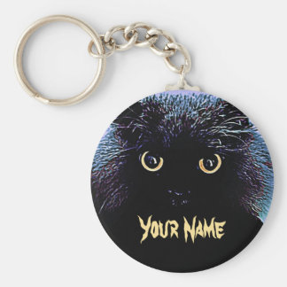 Chaveiro Gato preto bonito com os olhos dourados de