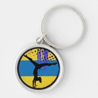 Chaveiro Gymnast azul da arte abstracta do ouro