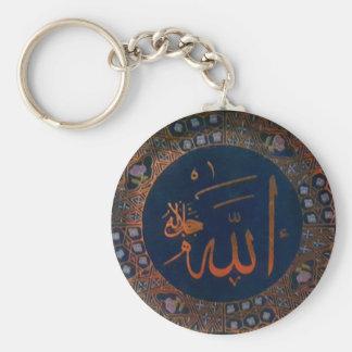 Chaveiro islâmico de Allahu da arte árabe azul do