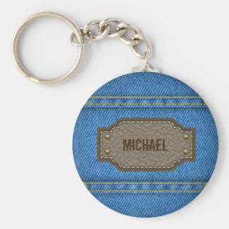 Chaveiro Jeans azuis da sarja de Nimes com etiqueta