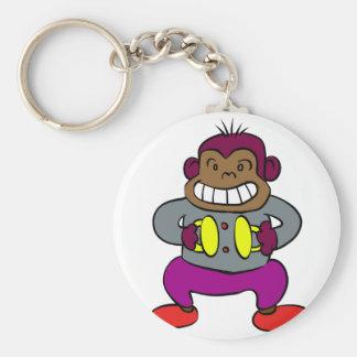 Chaveiro Macaco retro com brinquedo dos pratos