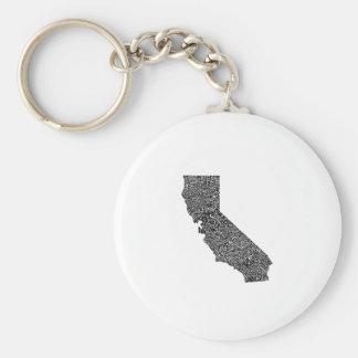 Chaveiro Mapa da tipografia de Califórnia