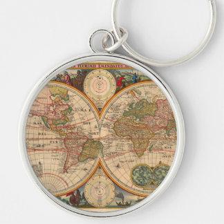 Chaveiro Mapa de Velho Mundo por Nicolaas Visscher