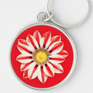 Chaveiro Margarida africana/Gazania - vermelho e branco