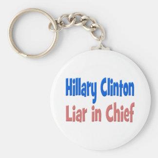 Chaveiro Mentiroso de Hillary Clinton na corrente chave