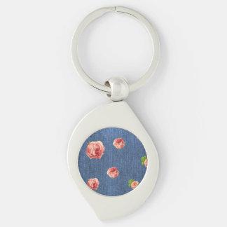 Chaveiro Modelo azul floral do monograma da sarja de Nimes