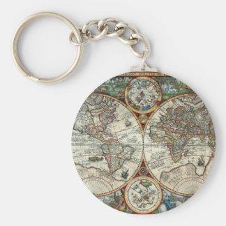 Chaveiro Orbis Terrarum 1594 - mapa do mundo famoso