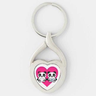 Chaveiro Pandas dos desenhos animados no amor