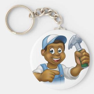 Chaveiro Personagem de desenho animado preto do trabalhador
