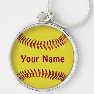 Chaveiro personalizado do softball com SEU NOME