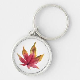 Chaveiro Pintura da aguarela da folha de bordo do outono