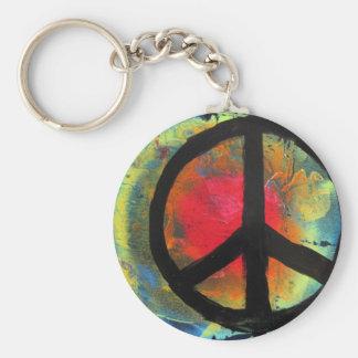 Chaveiro Pintura do sinal de paz do arco-íris da arte da