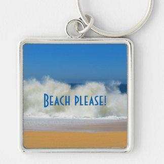 Chaveiro Praia por favor! Cena da praia com ondas deixando