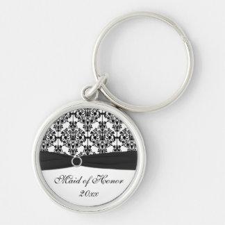 Chaveiro preto e branco da madrinha de casamento
