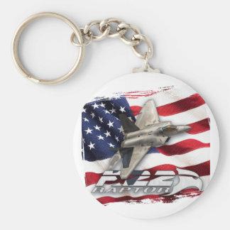 Chaveiro Raptor F-22 e bandeira americana