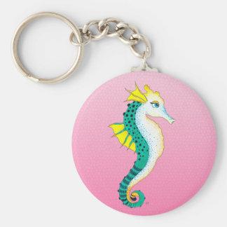 Chaveiro rosa do cavalo marinho da cerceta