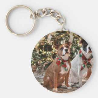 Chaveiro Salvamento bonito Pitbull do Natal e cão de