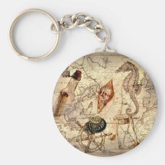 Chaveiro Seashell botânico do cavalo marinho do mapa