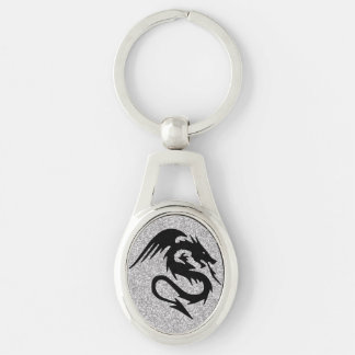 Chaveiro Silhueta de ataque do dragão na prata