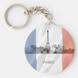Chaveiro Skyline de Paris, France com bandeira francesa
