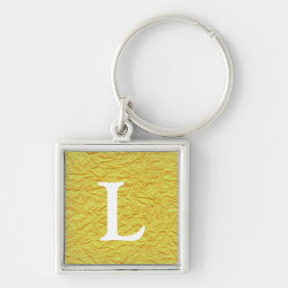 Chaveiro Textura de papel amarela enrugada