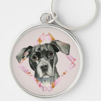 """Chaveiro """"Toda a ilustração preta do cão do pitbull das"""