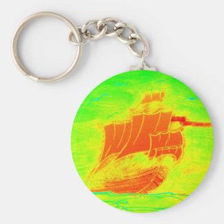 Chaveiro veleiro fluorescente